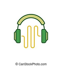Vector green headphones with sound wave creative icon