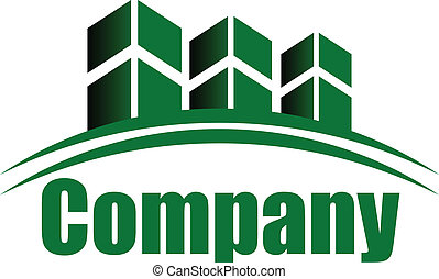 buildings - Vector green icon / logo with buildings and...