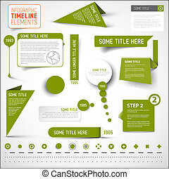 Green infographic timeline elements / template