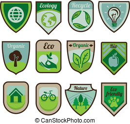Vector green labels and stickers