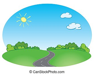 vector green landscape with road and blue sky