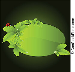 vector green leaf and ladybug with space for your text