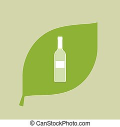 Vector green leaf icon with a bottle of wine