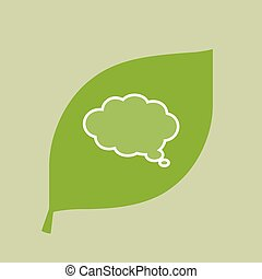 Vector green leaf icon with a comic cloud balloon