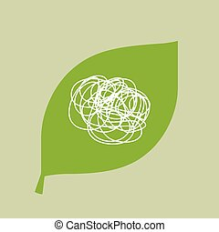 Vector green leaf icon with a doodle