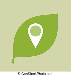 Vector green leaf icon with a map mark