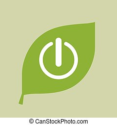 Vector green leaf icon with an off button