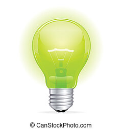 Vector green light bulb isolated on white