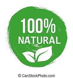 Vector green logo natural product. Banners or posters organic healthy food.