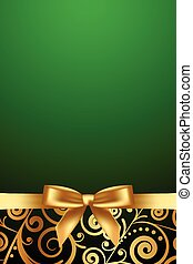 green luxury frame with gold ribbon