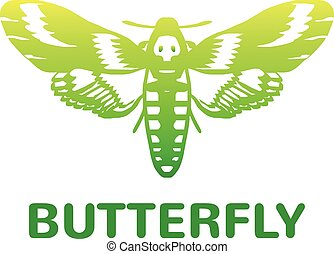 Vector green mole color butterfly icon illustration