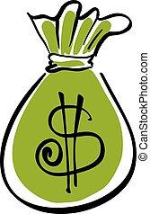 Vector green money bag icon.