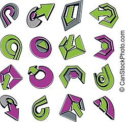 Vector green multimedia signs collection isolated on white background. 3d colorful abstract design elements, can be used in web and graphic design and as marketing symbols.