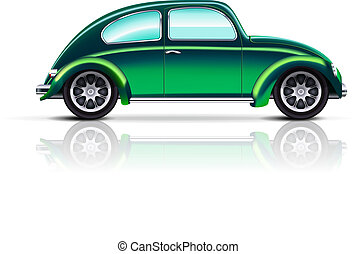 Old car beetle - Vector green Old car beetle on white