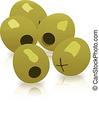 Vector green olives isolated on a white background