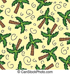 Vector green palm trees seamless