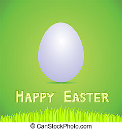 Vector green paper card with white easter egg