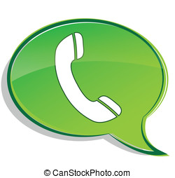 Vector green phone icon bubble