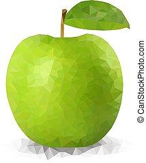 Vector green polygonal apple