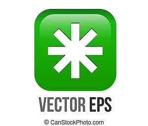 vector green rounded square bullet sparkle Eight Spoked Asterisk point icon