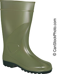 green rubber boot - vector green rubber boot on white...