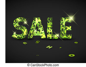 Vector green sale label made from letters - Vector green...