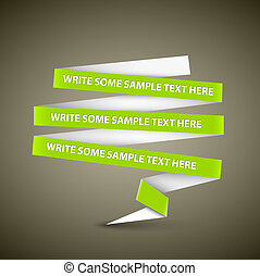 Vector Green speech bubble made from paper stripe with...