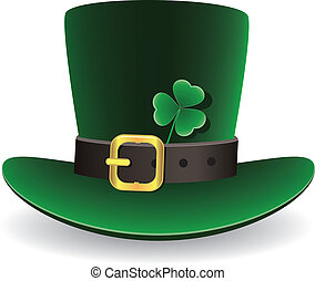 vector green St. Patrick's Day hat with clover