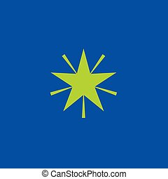 Vector green star icon on blue background