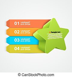 Vector green star Infographics concept.