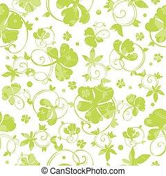Vector Green Swirly Clover Seamless Pattern