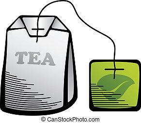 vector green tea bag icon