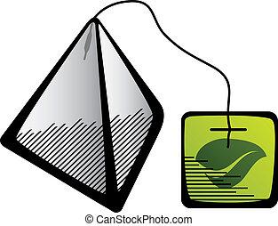 vector green tea pyramid bag icon