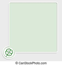 vector green text box with cloverleaf