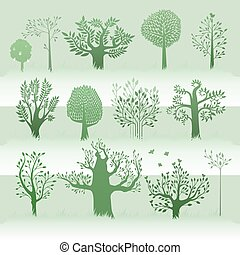 green trees set
