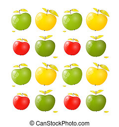 Vector Green, Yellow and Red Apple Background