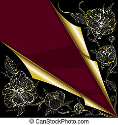 Vector greeting background with peony flowers