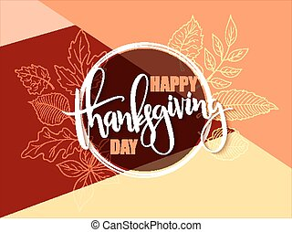 Vector greeting banner with hand lettering label - happy thanksgiving day - autumn doodle leaves