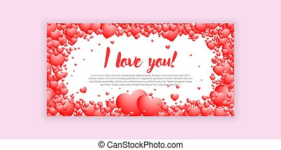 VECTOR greeting card declaration of love handwritten text I love you white background with a frame of volumetric hearts