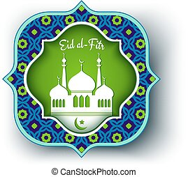 Eid al Fitr - Vector greeting card for Eid al-Fitr with ...