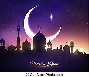 Vector greeting card for Ramadan Kareem holiday - Ramadan...