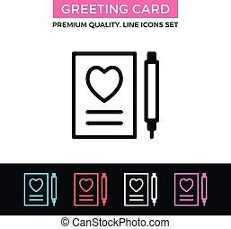 Vector greeting card icon. Invitation, Valentine's day concepts. Thin line icon
