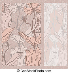 vector greeting card on seamless grunge background with seamless floral ornament in beige, clipping masks