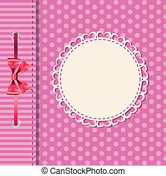Vector greeting card or cover with bow. Space for your text ...