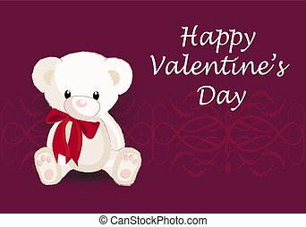 Vector greeting card with a cute bear. Happy Valentine's Day.