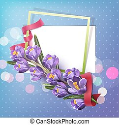 Vector greeting card with blue crocuses , frame, red ribbon and place for text on a blue background