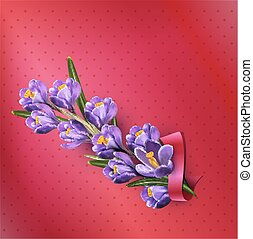 Vector greeting card with blue crocuses, red ribbon and place for text on a purple background