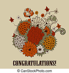 Vector Greeting Card with Bouquet of Bizarre Flowers - ...
