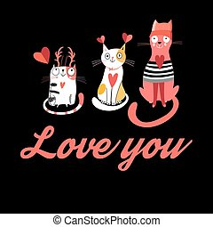 Vector greeting card with cats in love