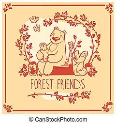 Vector greeting card with cute rabbit, bird, hedgehog, mouse, fox and bear. Invitation design.